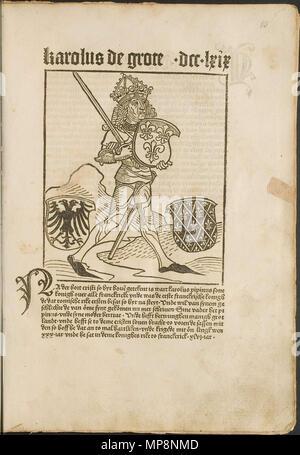 . Illustration from the incunabulum: Cronecken der Sassen (The Chronicles of Saxony) printed by Peter Schöffer in Mainz. 1492. Conrad Bote (Konrad Botho) 760 Karolus de Grote p00029 - Stock Photo