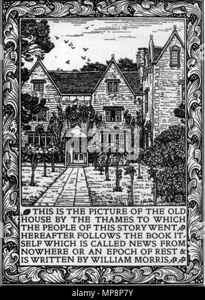 . English: Kelmscott Manor depicted in the frontispiece to the 1893 Kelmscott Press edition of William Morris's News from Nowhere . 1893.   William Morris (1834–1896)   Alternative names William M. Morris  Description British painter, designer, architect and writer  Date of birth/death 24 March 1834 3 October 1896  Location of birth/death Walthamstow (Essex) London-Hammersmith  Work location Deutsch: Südengland English: Southern England  Authority control  : Q182589 VIAF:22146194 ISNI:0000 0001 2123 5747 ULAN:500030629 LCCN:n78095326 NLA:35363838 WorldCat 762 Kelmscott Manor News fro - Stock Photo
