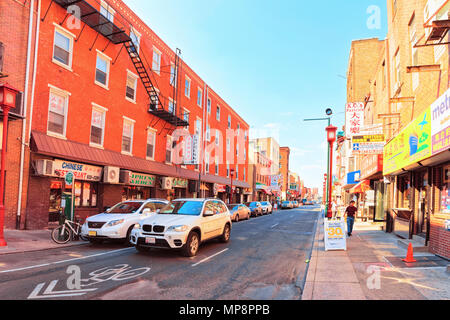 Philadelphia, USA - May 5, 2015: Street in Chinatown in Philadelphia, Pennsylvania, the USA - Stock Photo