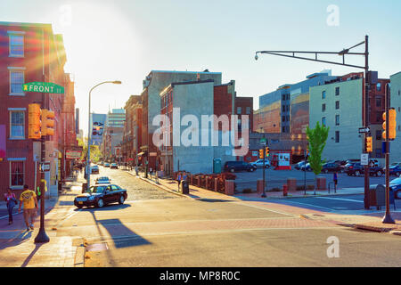 Philadelphia, USA - May 5, 2015: Sunset on Chestnut Street in Philadelphia, Pennsylvania, USA. It is central business district in Philadelphia - Stock Photo