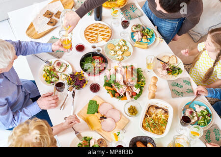 Top View of Family Dinner - Stock Photo
