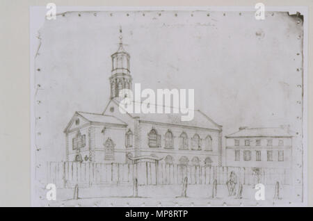 . Drawing of the exterior of the first Kahal Kadosh Beth Elohim Synagogue which resembled a church in the Georgian style. It was destroyed in the great fire of Charleston of 1838. before 1838.   768 KKBE2 - Stock Photo