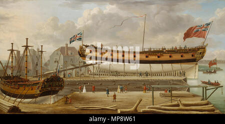 A Sixth-Rate on the Stocks. The exact location of the shipyard in this painting is unclear but it may be on the south bank of the Thames at Rotherhithe. The ship in the foreground ready for launching is a 24-gun sloop of war, much in use by the Navy for patrolling around coasts in peace and war, and there is another ship in dry-dock to the left under repair with only the lower masts standing. In the foreground to the right some tree trunks are piled ready for use for shipbuilding and behind them two figures sit on ready-sawn planks. In the right forergound there is a small capstan-powered cran - Stock Photo