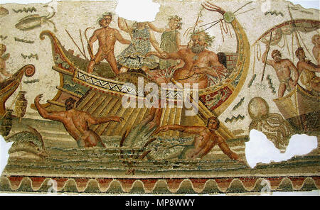 .  Français: Bacchus lutte contre des créatures marines et des pirates. Mosaïque du musée national du Bardo à Tunis.  Italiano: Il corteggio di Bacco lotta contro creature marine. Mosaico pavimentale romano al Museo del Bardo a Tunisi. II secolo d.C.  English: North African Roman mosaic, dated 2nd century AD: Panther-Dionysus scatters the pirates, who are changed to dolphins, except for Acoetes, the helmsman. Located in the Bardo National Museum of Tunis, Tunisia.  . 16 May 2010, 21:52 (UTC).  GiorcesBardo53.jpg: Giorces derivative work: Habib.mhenni (talk) 922 Neptune et les pirates - Stock Photo