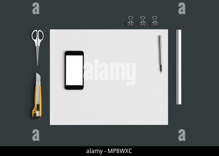 Office set with white sheets of paper, mobile phone and stationery on grey background - Stock Photo