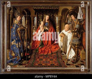 Madonna with Canon Joris van der Paele.  English: Oil on wood, 122 x 157 cm. Groeninge Museum, Bruges, Belgium . 1434. Jan Van Eyck 784 La Madone au Chanoine Van der Paele - Stock Photo