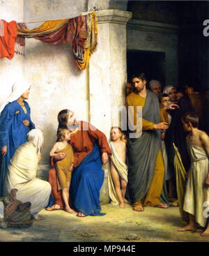Suffer the Little Children to Come Unto Me (Mark 10:13-16) by Anicet