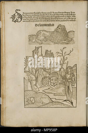 . Illustration from the incunabulum: Cronecken der Sassen (The Chronicles of Saxony) printed by Peter Schöffer in Mainz. 1492. Conrad Bote (Konrad Botho) 812 Lion and Town Scene p00272 - Stock Photo