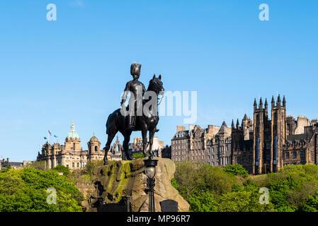 The Royal Scots Greys Monument on Princes Street in Edinburgh, Scotland UK - Stock Photo