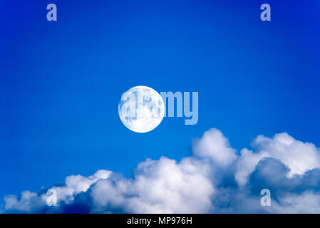 1988 HISTORICAL PUFFY WHITE CLOUD FORMATION ON CLEAR BLUE SKY - Stock Photo