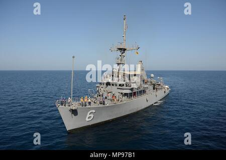 The U.S. Navy Avenger-class mine countermeasures ship USS Devastator steams underway November 6, 2014 in the Gulf of Oman.   (photo by Ace Rheaume via Planetpix) - Stock Photo