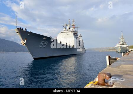 The U.S. Navy Ticonderoga-class guided-missile cruiser USS Leyte Gulf arrives at the Marathi NATO Pier Facility December 10, 2014 in Souda Bay, Crete, Greece.   (photo by Jeffrey M. Richardson via Planetpix) - Stock Photo