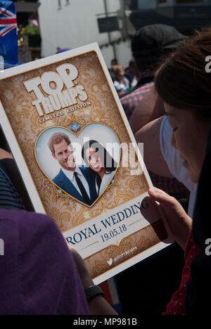 Royal wedding 19 May 2018 Prince Harry Meghan Markle  the Duke and Duchess of Sussex poster Windsor . England 1980s HOMER SYKES - Stock Photo