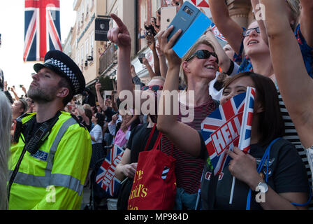 People in crowd with mobile devises phones iphones i phone tourists watching Royal Wedding Prince Harry Meghan Markle  procession  Windsor Uk 2018 HOMER SYKES - Stock Photo