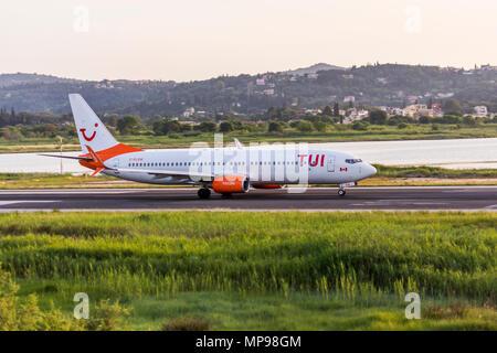 CORFU,GREECE-MAY 19,2018: Tui Boeing 737-8HX taxiing at Corfu International Airport - CFU May 19,2018 - Stock Photo