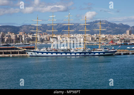 'Royal Clipper' a five masted full-rigged sailing ship operated by Star Clippers and docked in Palma, Majorca - Stock Photo