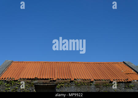 rusty corrugated tin roof on a barn set against a clear blue sky. - Stock Photo