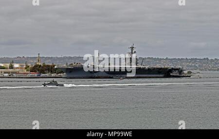 USS Theodore Roosevelt CVN 71, Aircraft Carrier, San Diego, California - Stock Photo
