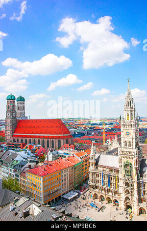 Frauenkirche Church and New City Hall in Murich, Germany - Stock Photo