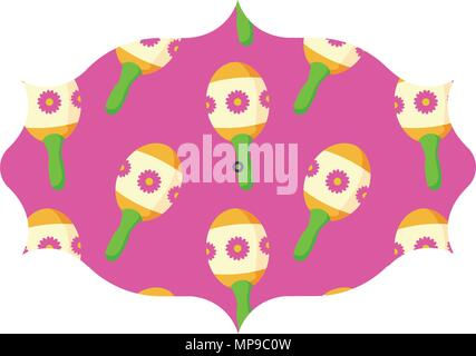 arabic frame with Mexican maracas pattern over white background, vector illustration - Stock Photo