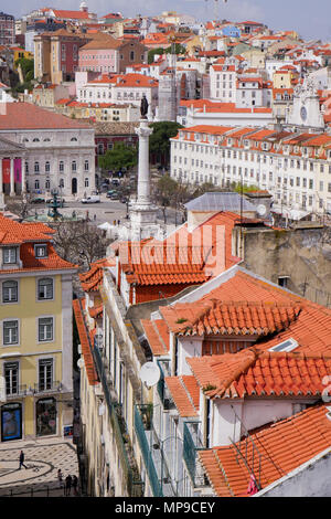 General view over Lisbon roofs from top floor of Santa Justa elevator, Lisbon, Portugal - Stock Photo