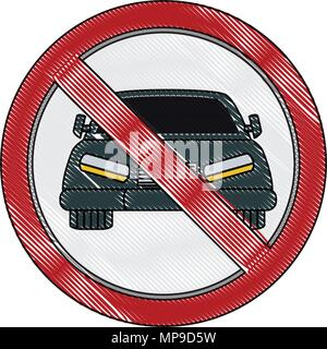 No cars allowed prohibition sign, no cars entry, Do not drive symbol, vector illustration - Stock Photo