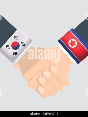 New hopeful friendship of North Korea and South Korea. Vector icon of handshake symbolizes a peace talks. sign of two hands of leaders. Sleeves are decorated by flags of East Asian countries. - Stock Photo