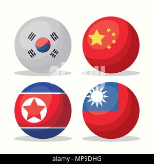 Icon set of Asian flags in button shapes over white background, colorful design. vector illustration - Stock Photo