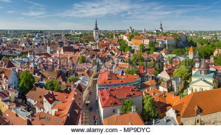 aerial view Tallinn medieval old town, Estonia, Europe - Stock Photo