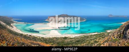 Panorama of Balos beach and Gramvousa island near Kissamos in Crete, Greece - Stock Photo