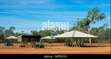 Shaded picnic area in a rest sop on the Great Northern Highway, Kimberley, WA, Australia. - Stock Photo