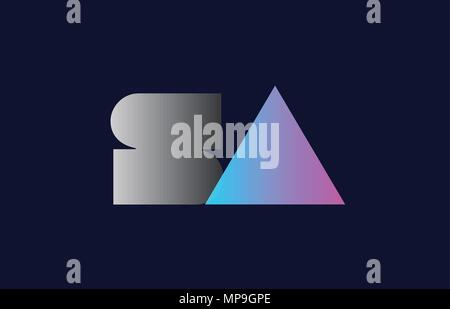 initial alphabet letter sa s a logo combination in pink blue and grey colors suitable for business and corporate identity - Stock Photo