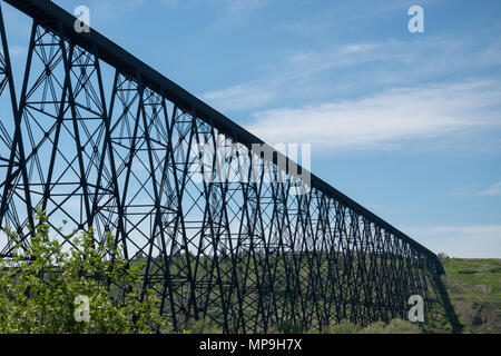 The Lethbridge Viaduct, commonly known as the High Level Bridge, was constructed between 1907 -1909 in Lethbridge, Alberta, Canada by Canadian Pacific - Stock Photo