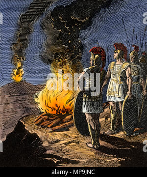 Ancient Greek military communicating via beacon fires. Digitally colored woodcut - Stock Photo