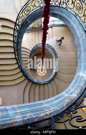 Staircase wrought-iron work by Jean Lamour, Musée des Beaux-Arts / Museum of Fine Arts, Nancy, Meurthe-et-Moselle, Lorraine, France - Stock Photo