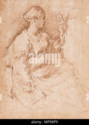 cam 1953.115    . Woman Seated Holding a Statuette of Victory . 16th century.    Parmigianino (1503–1540)   Alternative names Birth name: Girolamo Francesco Maria Mazzola  Description Italian painter and graphic artist  Date of birth/death 11 January 1503 24 August 1540  Location of birth/death Parma Casalmaggiore bei Parma  Work location Rom, Bologna und Parma  Authority control  : Q9348 VIAF:17231857 ISNI:0000 0001 2122 2460 ULAN:500012615 LCCN:n79074516 NLA:36403327 WorldCat 1272 Woman Seated Holding A Statuette Of Victory, brown ink drawing by Parmigianino, 16th century - Stock Photo