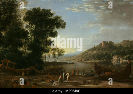 Claude Lorrain (French, 1604/1605 - 1682 ), Landscape with Merchants, c. 1629, oil on canvas, Samuel H. Kress Collection A11472.jpg 820 Claude Lorrain - Paysage avec les commerçants - Stock Photo