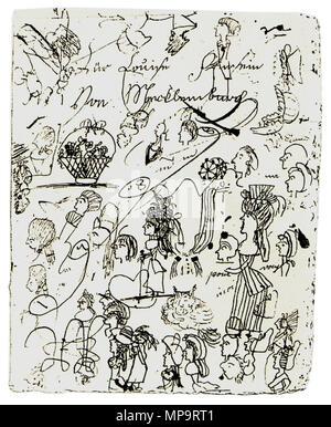 . Scribbles, made by Luise von Mecklenburg-Strelitz, Queen of Prussia. circa 1795. Luise von Mecklenburg-Strelitz 834 Luise Kritzelzeichnung - Stock Photo