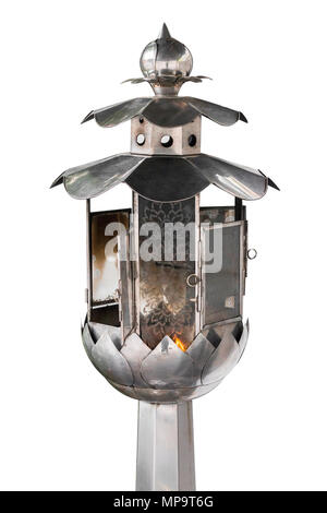 Oil lamp to creative for design and decoration isolate on background.Copy space.Clipping path - Stock Photo
