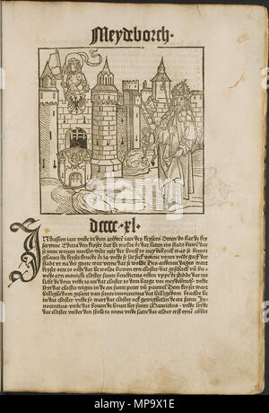 . Illustration from the incunabulum: Cronecken der Sassen (The Chronicles of Saxony) printed by Peter Schöffer in Mainz. 1492. Conrad Bote (Konrad Botho) 844 Magdeburg Castle p00123 - Stock Photo