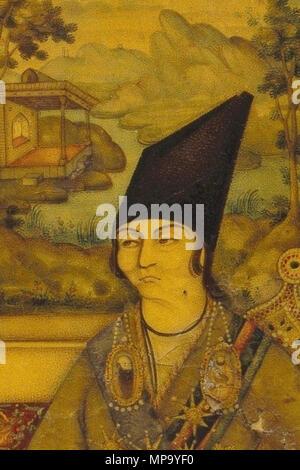 Mirror Case with Portrait of the Eunuch Manuchihr Khan Mu`tamid al-Dawla   circa 1847.   849 Manuchehr Khan Gorji (crop) - Stock Photo