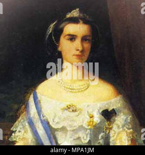 .  English: A portrait of Maria Sofia (1841-1925), Queen consort of Francis II of the Two Sicilies. Born as Maria Sophie Amalie in the Bavarian royal family of Wittelsbach she had the title of Duchess in Bavaria. She was the daughter of Maximilian, Duke in Bavaria and Ludovika, Royal Princess of Bavaria and was a younger sister of Empress Elisabeth ('Sissi') who married Emperor Franz Joseph of Austria. She married Francis in 1859 and he became King a few months later. Although the kingdom was lost in the drive to unite Italy during the siege of Gaeta (1860-1861) she demonstrated great courage  - Stock Photo