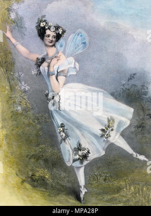 . English: Marie Taglioni as Flore in Charles Didelot's ballet Zephire et Flore. Hand colored lithograph, circa 1831. 1831. Alfred Edward Chalon (1780–1860) (artist) Lane, Richard James (A.R.A.) (1800–1872) (lithographer) J. Dickinson (publisher) 861 Marie-taglioni-in-zephire - Stock Photo