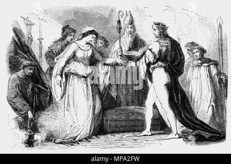 On 11 November 1100 King Henry I (1068–1135), fourth son of William the Conqueror, married Matilda, the daughter of Malcolm III of Scotland in Westminster Abbey on November 11, 1100. Although Henry and Matilda were emotionally close, their union was also politically motivated. Matilda was a member of the West Saxon royal family, being the niece of Edgar the Ætheling, the great-granddaughter of Edmund Ironside and a descendant of Alfred the Great.  For Matilda, an ambitious woman, it was an opportunity for high status and power in England. - Stock Photo