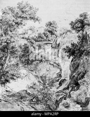 863 Markó, Károly - Landscape with Waterfall (ca1840) - Stock Photo
