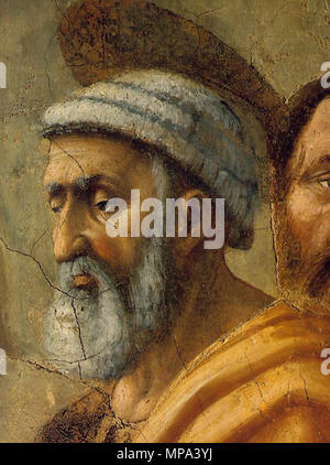 The Distribution of Alms and the Death of Ananias . detail . between 1426 and 1427.   868 Masaccio - The Distribution of Alms and the Death of Ananias (detail) - WGA14185 - Stock Photo