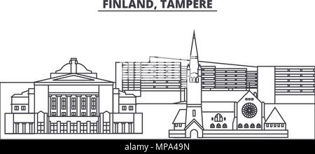 Finland, Tampere line skyline vector illustration. Finland, Tampere linear cityscape with famous landmarks, city sights, vector landscape.  - Stock Photo