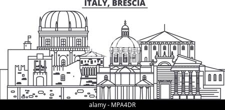 Italy, Brescia line skyline vector illustration. Italy, Brescia linear cityscape with famous landmarks, city sights, vector landscape.  - Stock Photo