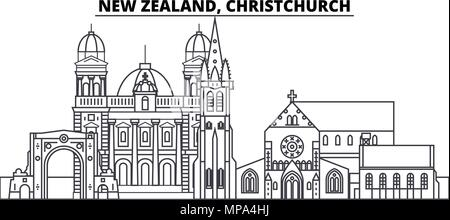 New Zealand, Christchurch line skyline vector illustration. New Zealand, Christchurch linear cityscape with famous landmarks, city sights, vector landscape.  - Stock Photo