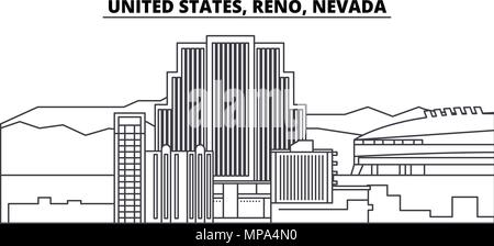 United States, Reno, Nevada line skyline vector illustration. United States, Reno, Nevada linear cityscape with famous landmarks, city sights, vector landscape.  - Stock Photo
